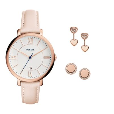Jacqueline ThreeHand Date Blush Leather Watch and Jewelry Box Set