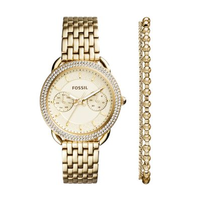 Tailor Multifunction GoldTone Stainless Steel Watch and Jewelry Box