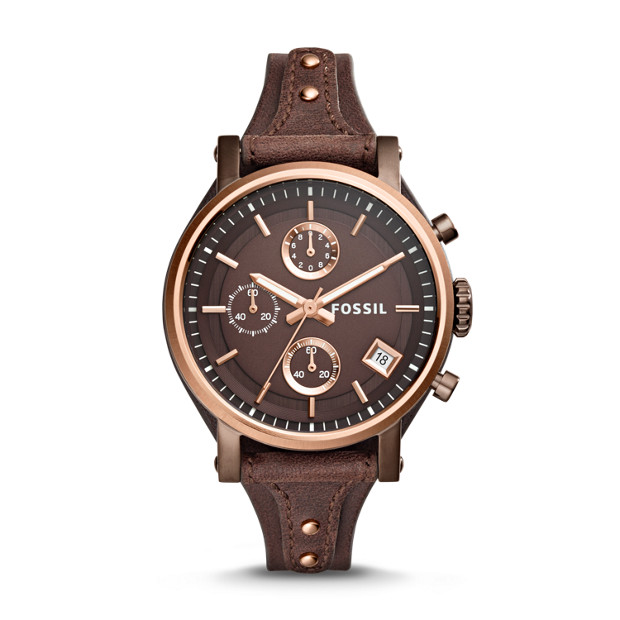 2496e6bc9d0 Original Boyfriend Chronograph Brown Leather Watch - Fossil