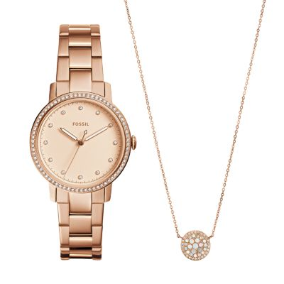 Neely ThreeHand Rose GoldTone Stainless Steel Watch and Jewelry
