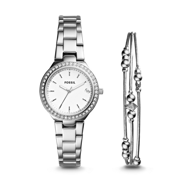 Blane Three Hand Stainless Steel Watch And Jewelry Gift Set by Fossil