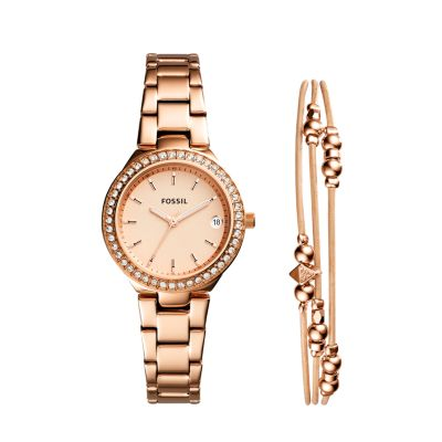 Blane ThreeHand Rose GoldTone Stainless Steel Watch and Jewelry