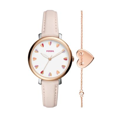 Jacqueline ThreeHand Pastel Pink Leather Watch and Jewelry Box Set