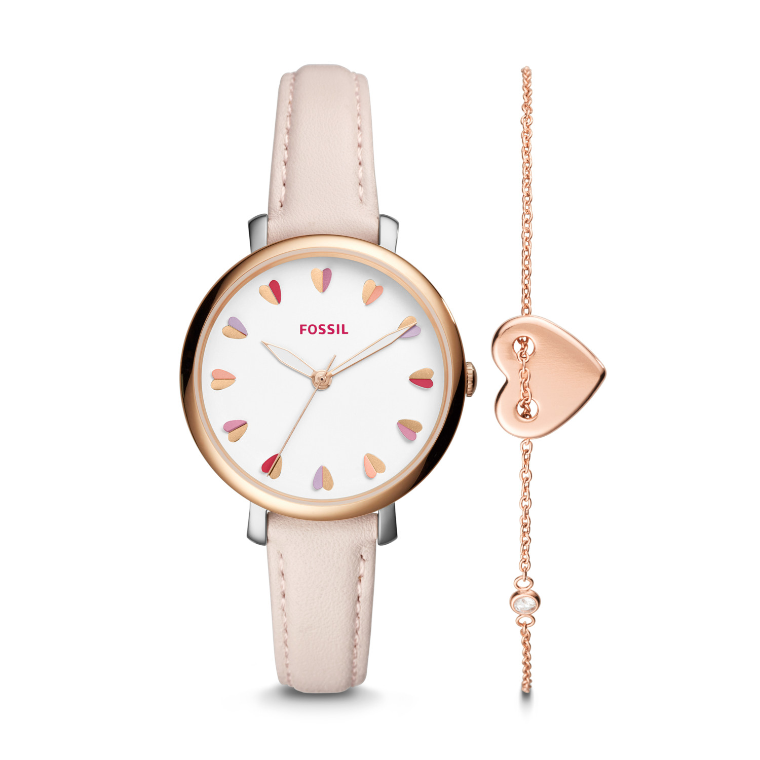 Kết quả hình ảnh cho Fossil Jacqueline Three-Hand Pastel Pink Leather Watch and Jewelry Box Set