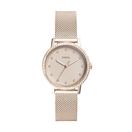 Neely Three-Hand Pastel Pink Stainless Steel Watch