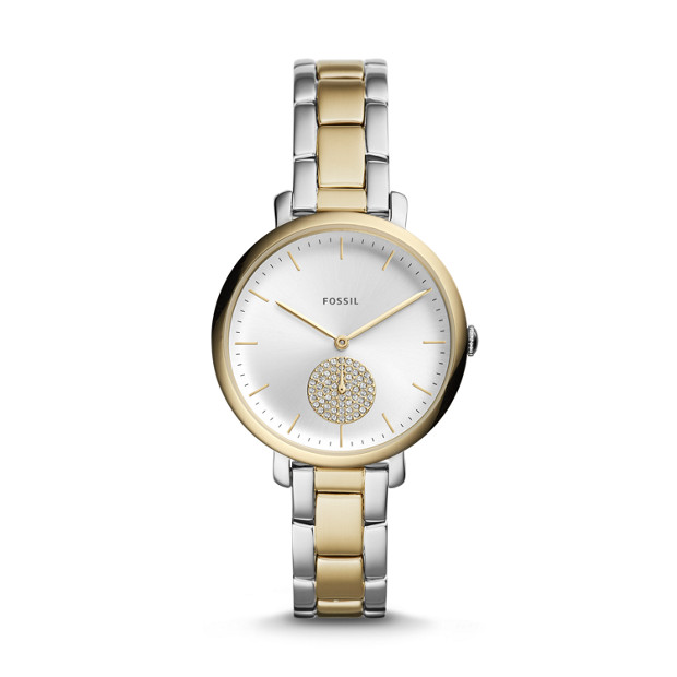 e000d9bad50b Jacqueline Three-Hand Two-Tone Stainless Steel Watch - Fossil