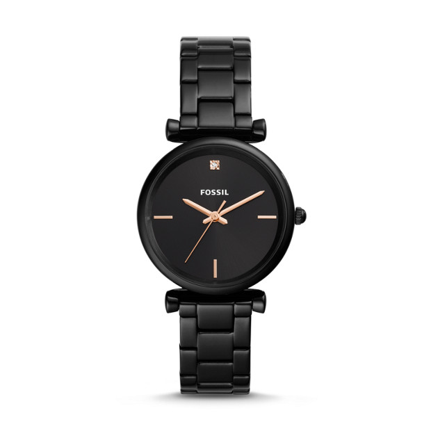 a9784a886 Carlie Carbon Series Three-Hand Black Stainless Steel Watch - Fossil