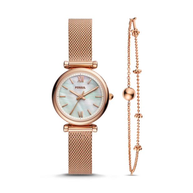 Carlie Mini Three Hand Rose Gold Tone Stainless Steel Watch