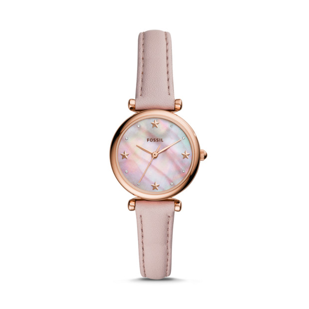 e10e52d40bbc Carlie Mini Three-Hand Blush Leather Watch - Fossil