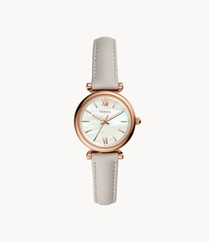 Carlie Mini Three-Hand Mineral Gray Leather Watch