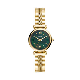 Carlie Mini Three-Hand Gold-Tone Stainless Steel Watch
