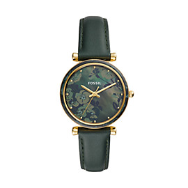 Carlie Three-Hand Dark Green Leather Watch