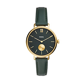 Kalya Three-Hand Dark Green Leather Watch