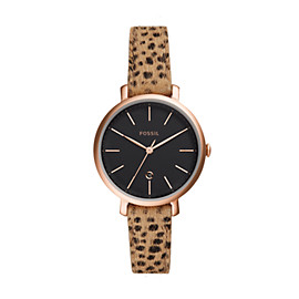 Jacqueline Three-Hand Date Faux Cheetah Hair Leather Watch