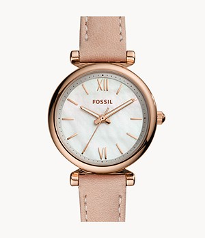 Carlie Mini Three-Hand Blush Leather Watch