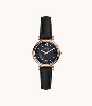 Carlie Mini Three-Hand Black Leather Watch