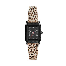 Lyric Three-Hand Faux Cheetah Hair Leather Watch