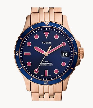 FB-01 Three-Hand Date Rose Gold-Tone Stainless Steel Watch