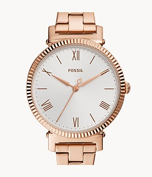 Daisy Three-Hand Rose Gold-Tone Stainless Steel Watch