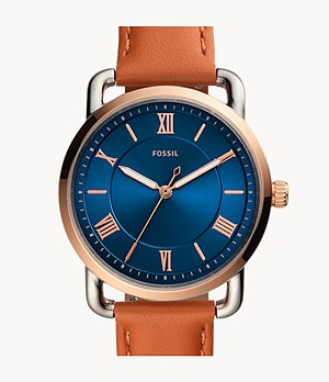 Copeland Three-Hand Tan Leather Watch