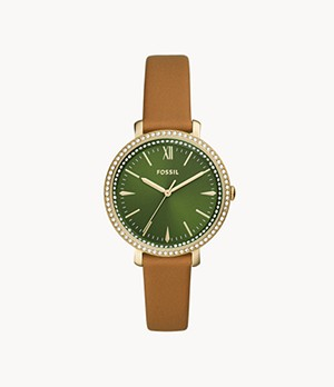 Jacqueline Three-Hand Luggage Leather Watch