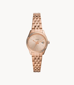 Micro Scarlette Three-Hand Date Rose Gold-Tone Stainless Steel Watch