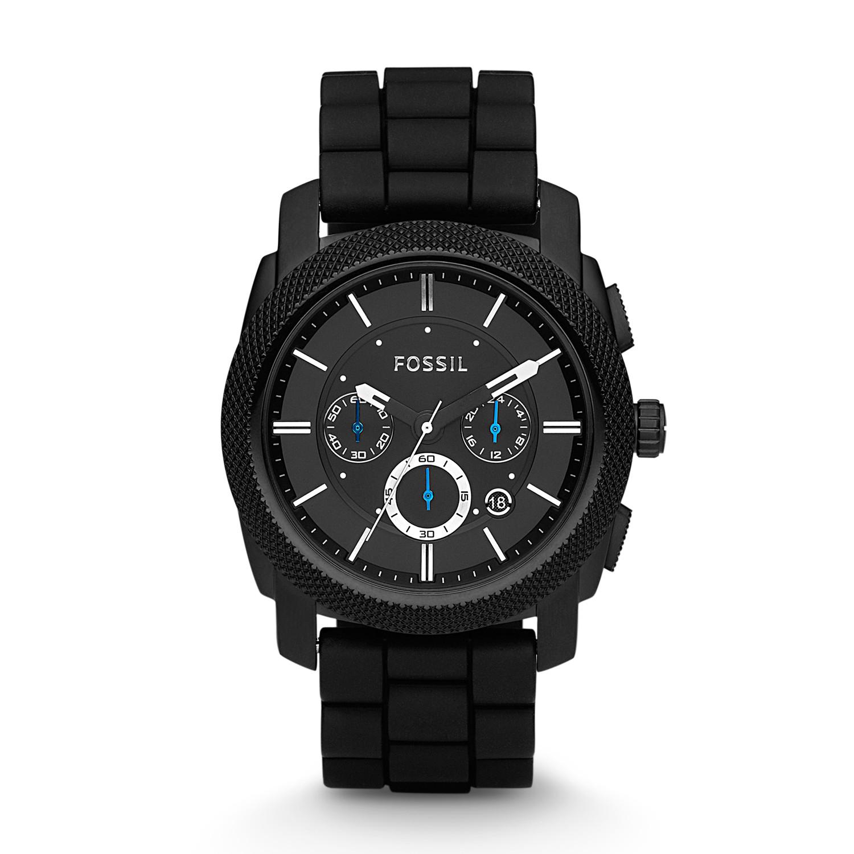 machine chronograph black silicone watch fossil rh fossil com
