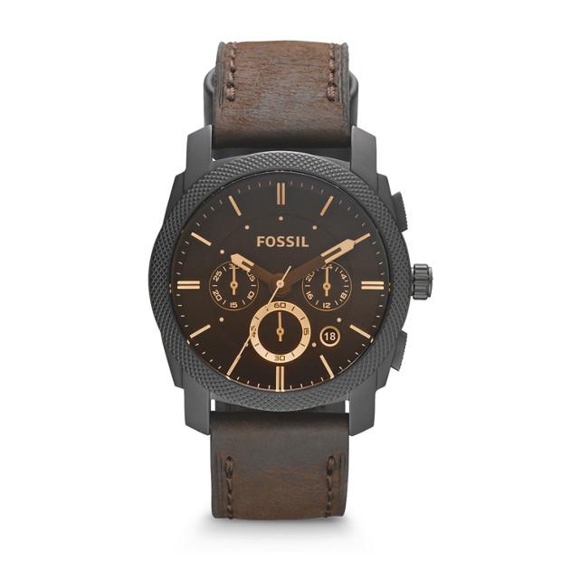 Fossil - Montre Machine chronographe en cuir - Brun - 1