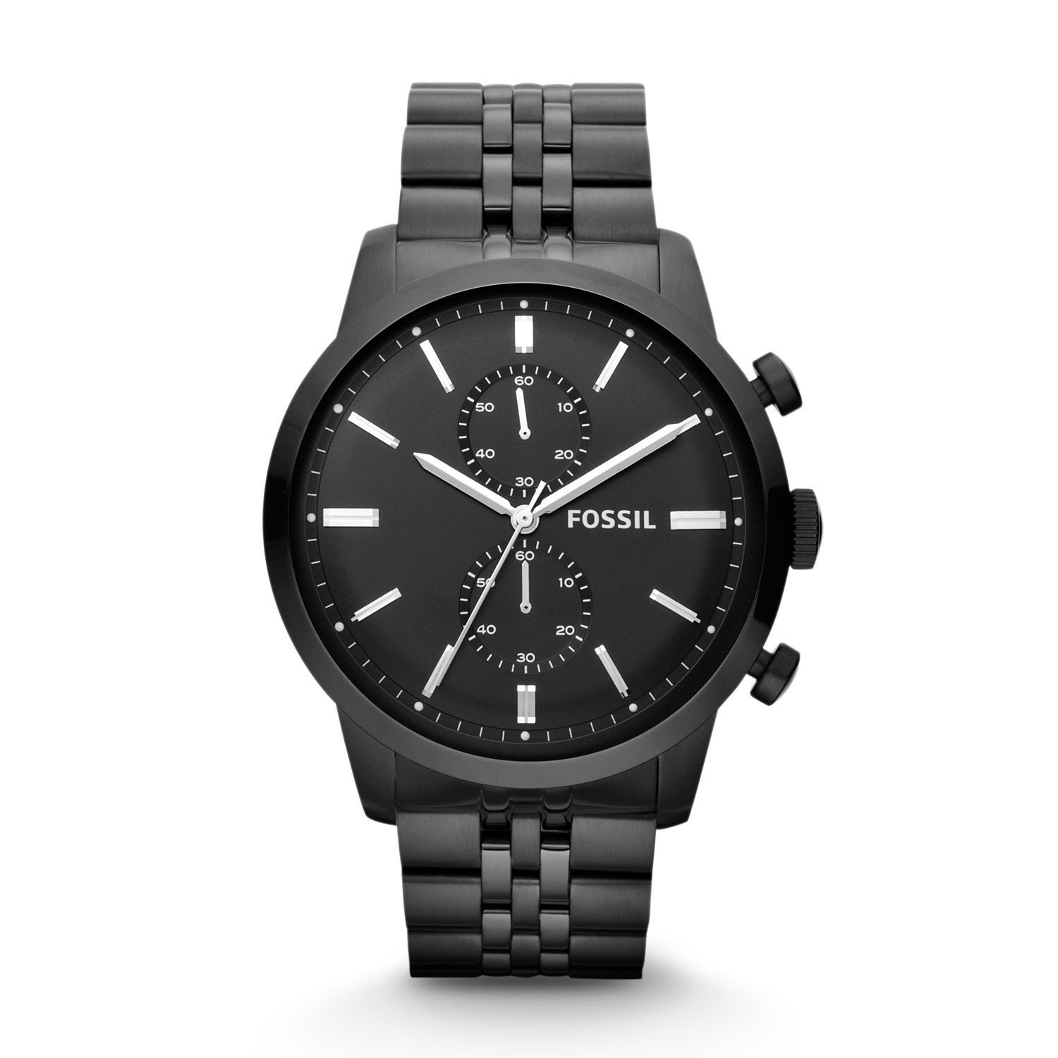 cab88731b Townsman Chronograph Black Stainless Steel Watch - Fossil