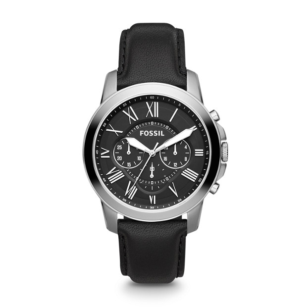 563139e25 Grant Chronograph Black Leather Watch - Fossil
