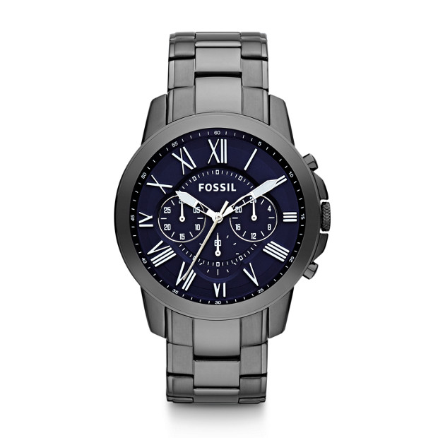 401849574dec Grant Chronograph Smoke Stainless Steel Watch - Fossil
