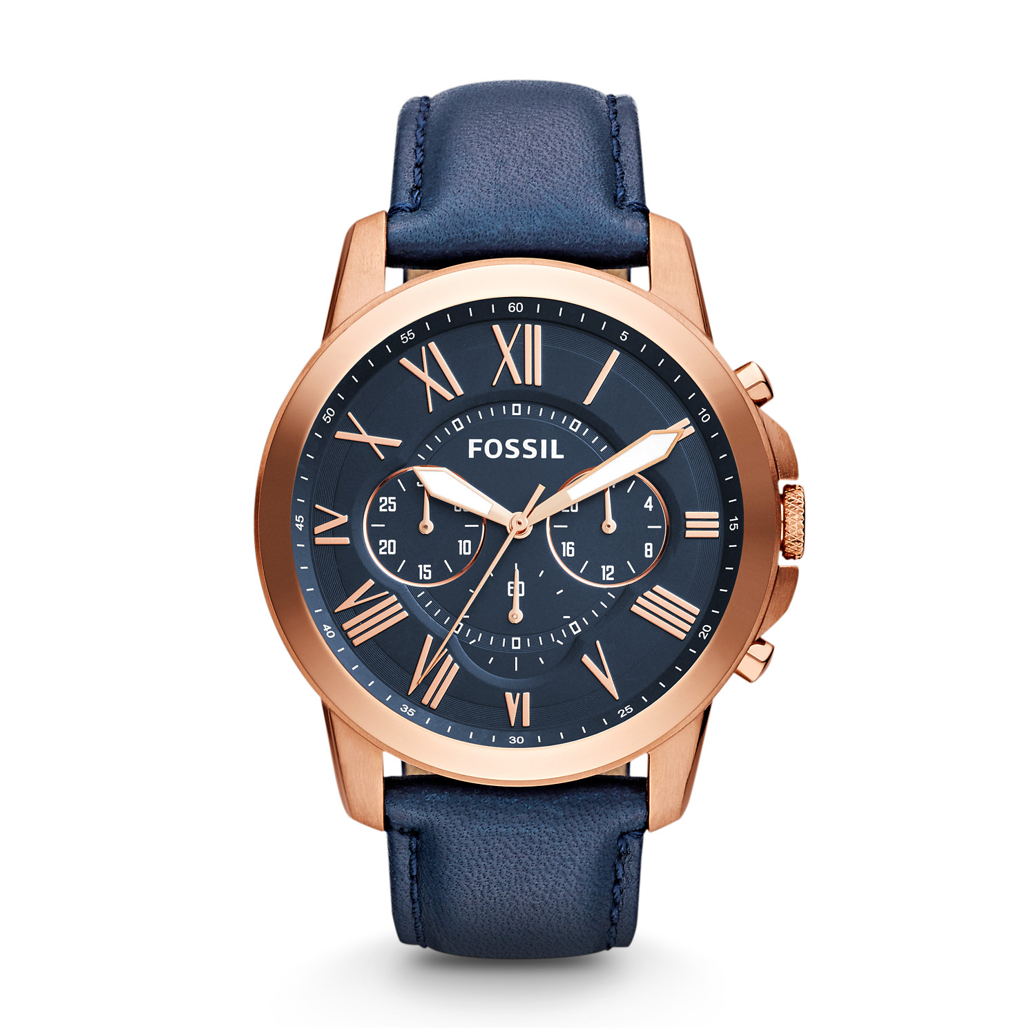 5efb86e7625b9 Grant Chronograph Navy Leather Watch - Fossil