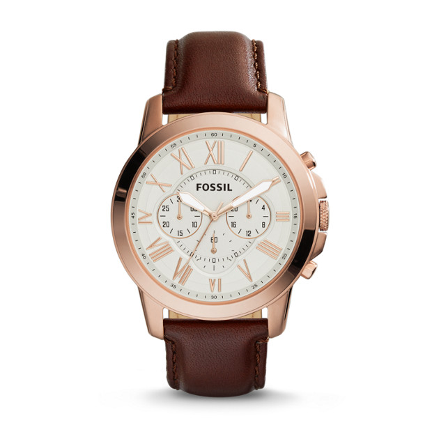 f782b26a6 Grant Chronograph Brown Leather Watch - Fossil