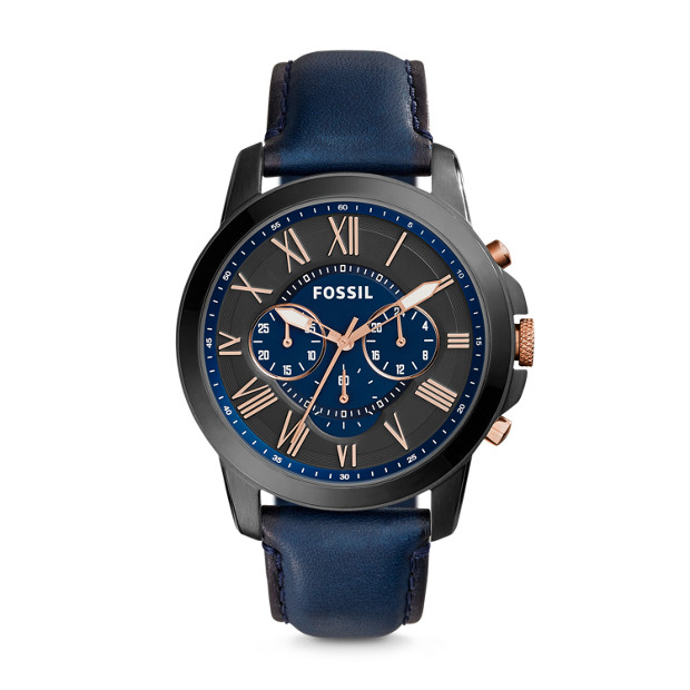 Grant Chronograph Navy Leather Watch - Fossil 8792dc2bfa