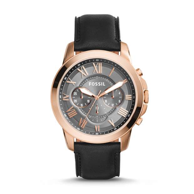 bc70a039c Grant Chronograph Black Leather Watch - Fossil
