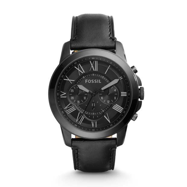 Grant Chronograph Black Leather Watch - Fossil 24a6ddec7dc