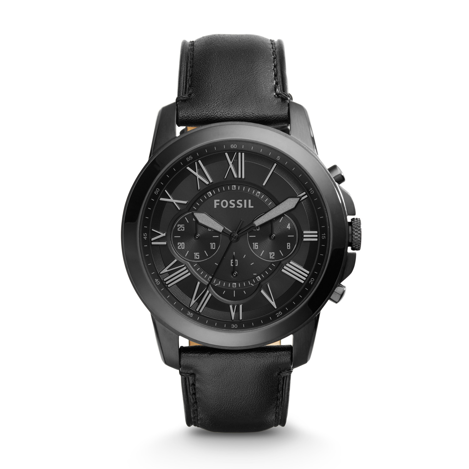 370218bf1914f Grant Chronograph Black Leather Watch - Fossil