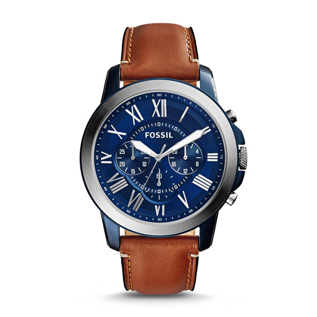 Fossil - Montre Grant chronographe en cuir brun clair - 1