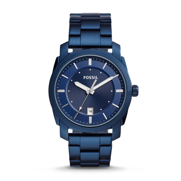 machine three hand date blue tone stainless steel watch fossil