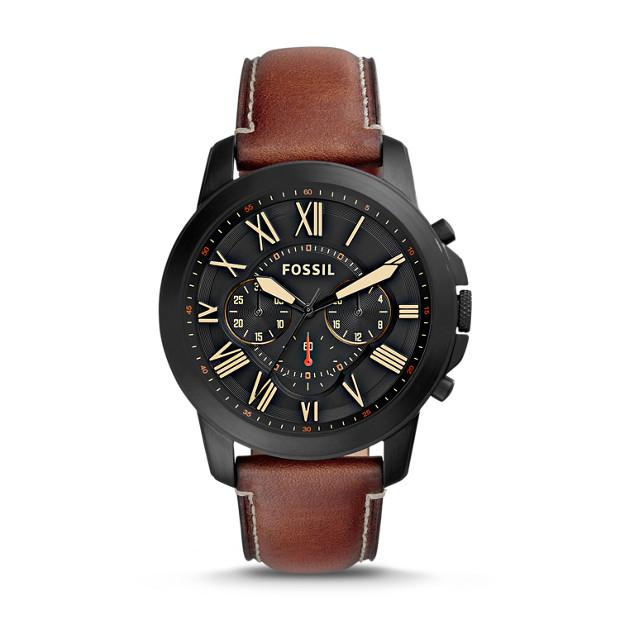 Fossil - Montre Grant Sport chronographe en cuir beige - 1