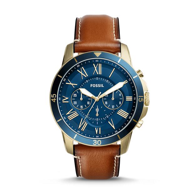 Fossil - Montre Grant Sport chronographe en cuir brun - 1