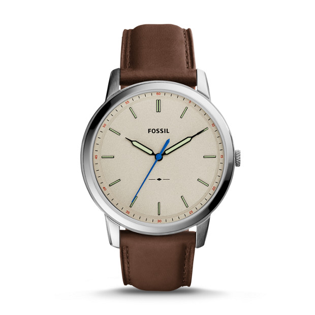 23550c06e The Minimalist Slim Three-Hand Brown Leather Watch - Fossil