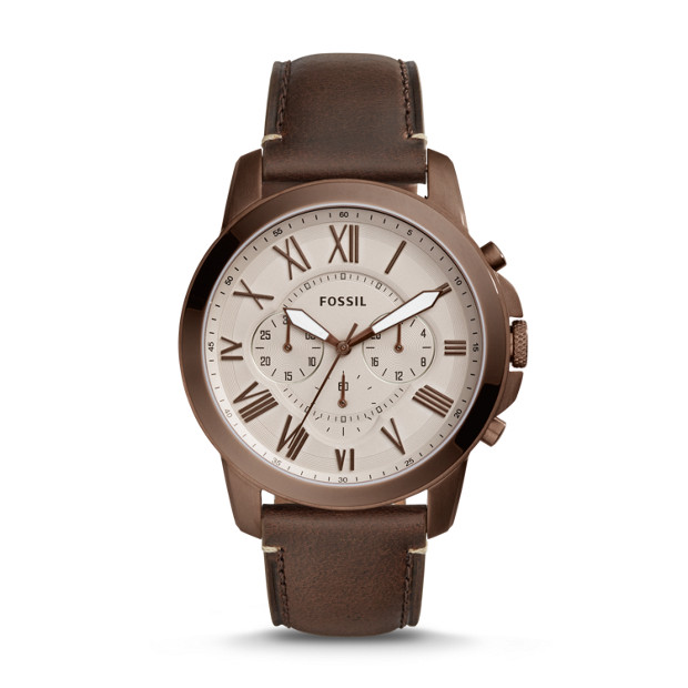 Grant Chronograph Brown Leather Watch - Fossil 5cbaa05b777d
