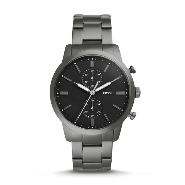 Townsman 44 Mm Chronograph Smoke Stainless Steel Watch by Fossil