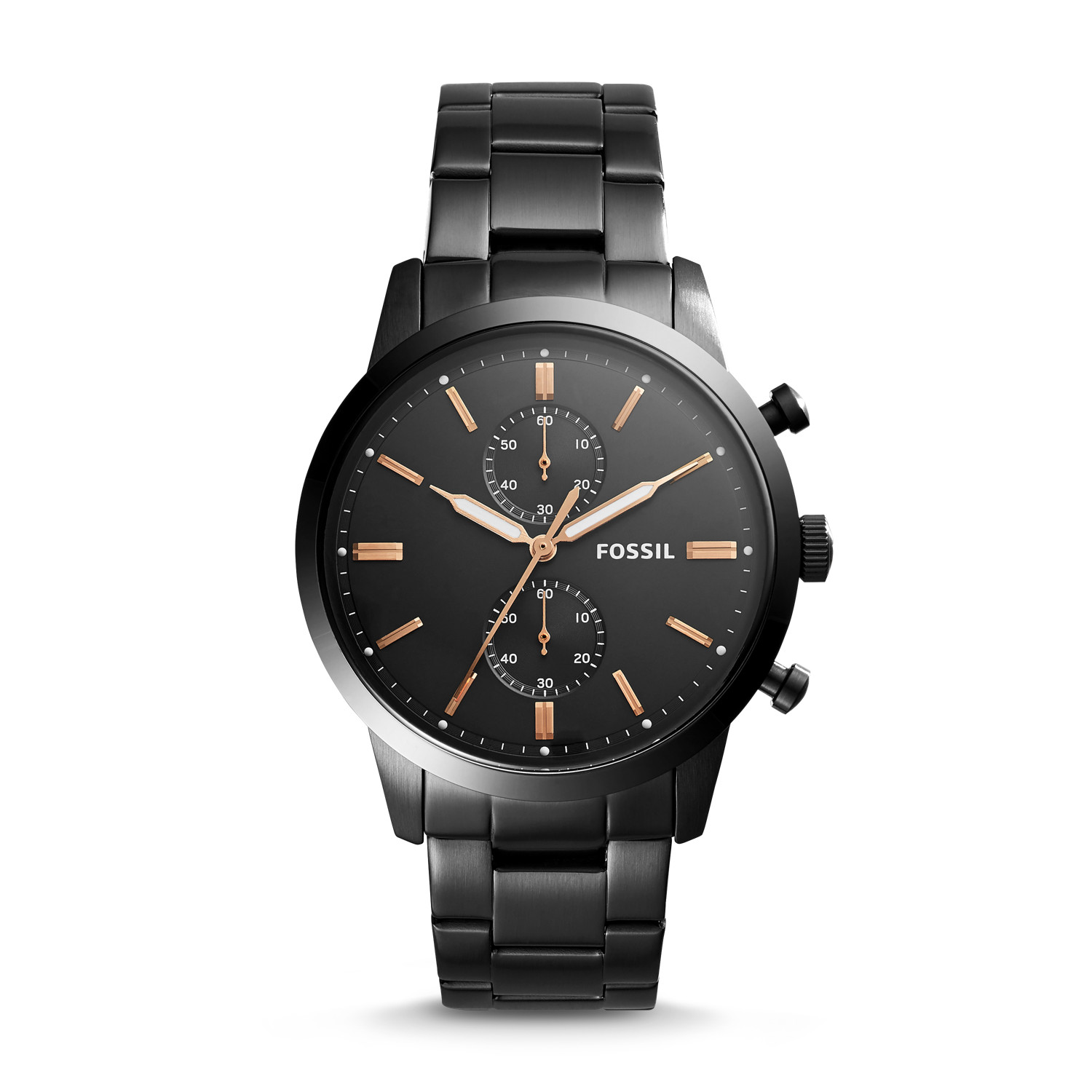 2f672072b Townsman 44mm Chronograph Black Stainless Steel Watch - Fossil