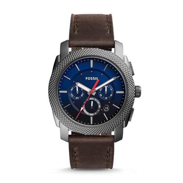 Fossil - Montre Machine chronographe en cuir gris - 1
