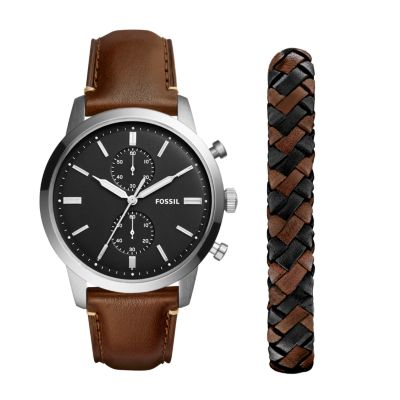 Townsman 44mm Chronograph Brown Leather Watch and Jewelry Box Set