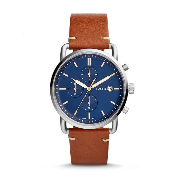 Fossil - Montre The Commuter chronographe en cuir brun clair - 1