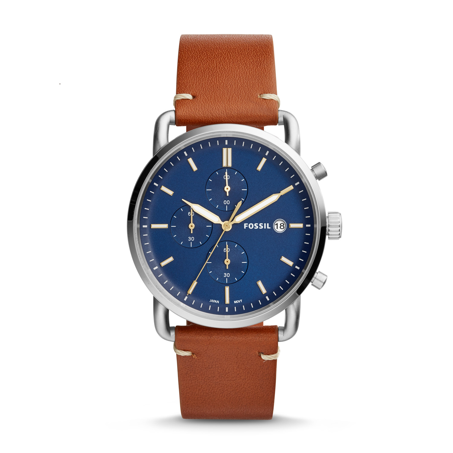 66522d526 The Commuter Chronograph Light Brown Leather Watch - Fossil