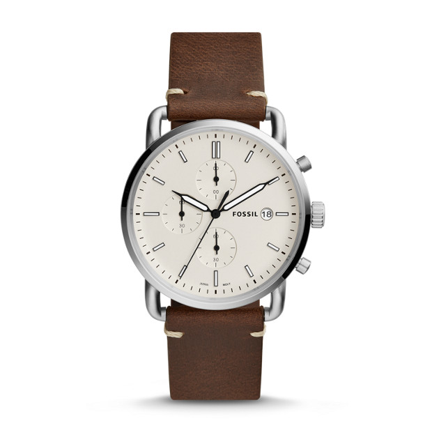 Fossil - Montre The Commuter chronographe en cuir brun - 1